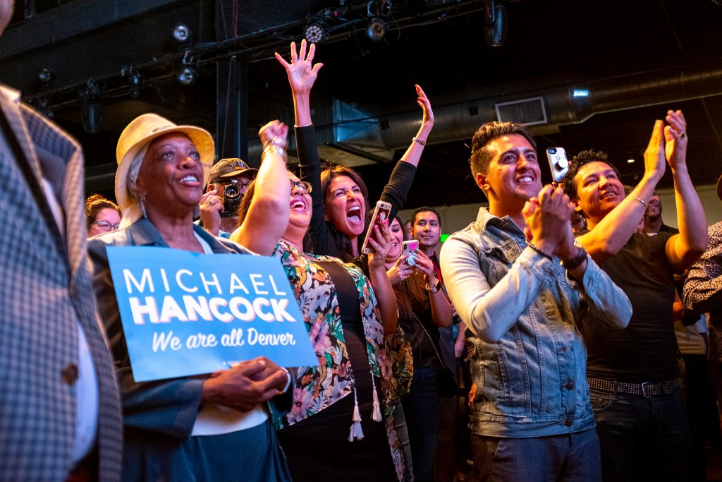Mayor Michael Hancock celebrates his second reelection at the EXDO Event Center, June 4, 2019. (Kevin J. Beaty/Denverite)