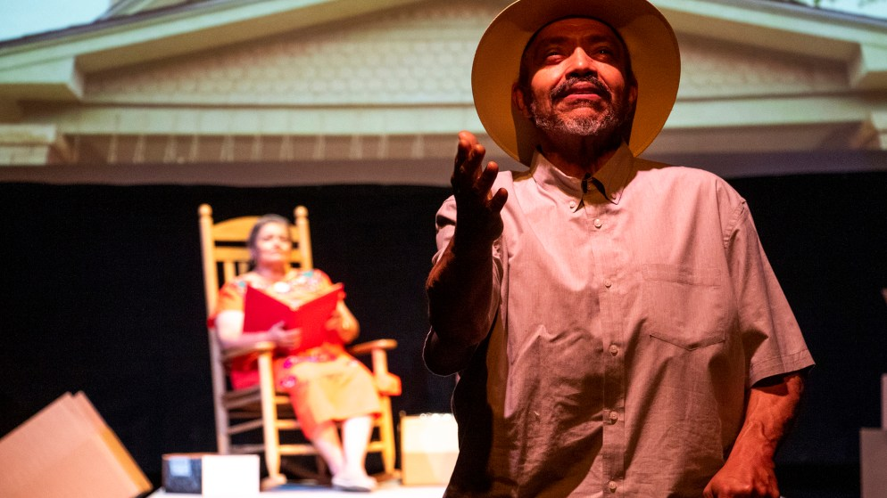 "A dress rehearsal of ""Northside"" by Bobby LeFebre at Su Teatro on Santa Fe Drive, June 10, 2019. (Kevin J. Beaty/Denverite)"