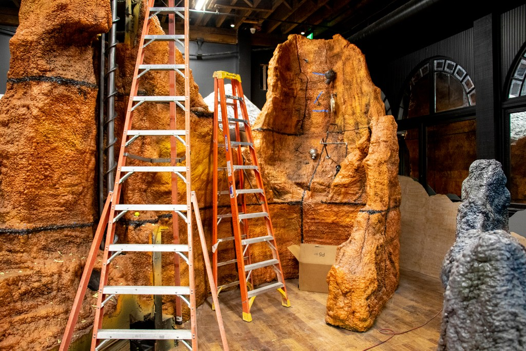 A Red Rocks- themed hole will feature musical instruments that balls will ricochet between in Urban Putt's new location at the old Old Spaghetti Factory building downtown, July 16, 2019. (Kevin J. Beaty/Denverite)