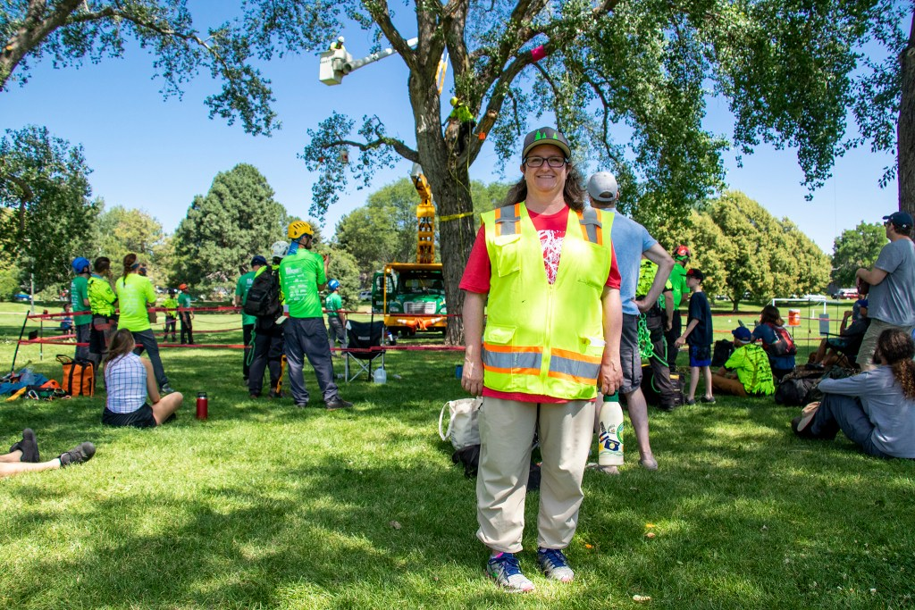 Sara Davis, Denver's urban forestry manager, poses for a portrait. The International Society of Arboriculture's rocky mountain chapter holds their annual regional tree-climbing competition at Crestmoor Park in Hilltop, July 20, 2019. (Kevin J. Beaty/Denverite)