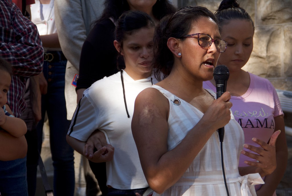 Activist Jeanette Vizguerra during a press conference organized by the Colorado Immigrant Rights Coalition outside First Unitarian Society of Denver on Tuesday, July 16, 2019. (Esteban L. Hernandez/Denverite)