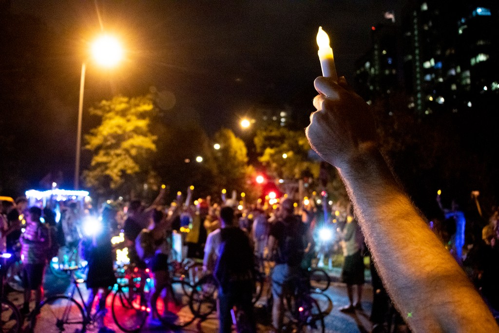 A vigil for Alexis Bounds after the Denver Cruisers arrived. July 31, 2019. (Kevin J. Beaty/Denverite)