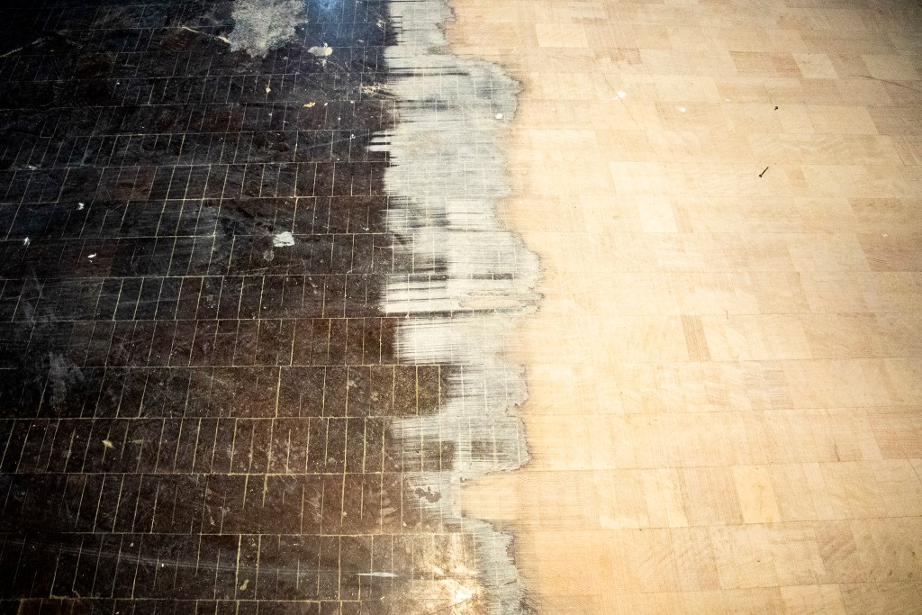Original wooden floors, partially sanded down, inside the Denver Art Museum's old North Building, now called the Martin Building. Aug. 8, 2019. (Kevin J. Beaty/Denverite)