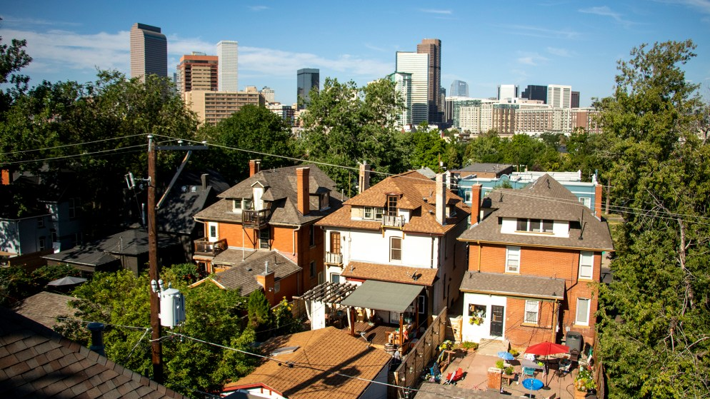 Denver seen from above Five Points. Specifically: 2283 N. Ogden St., the old New Hope Baptist Church that now houses four privately-owned condos. Aug. 20, 2019. (Kevin J. Beaty/Denverite)