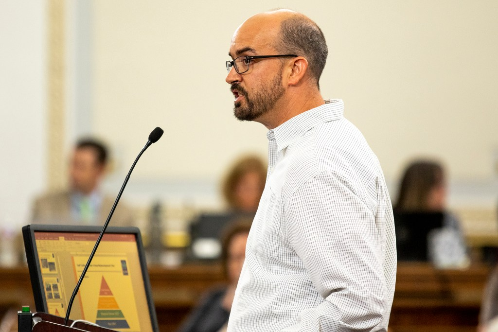 Brenden Greene testifies before Denver City Council, Aug. 26, 2019. (Kevin J. Beaty/Denverite)