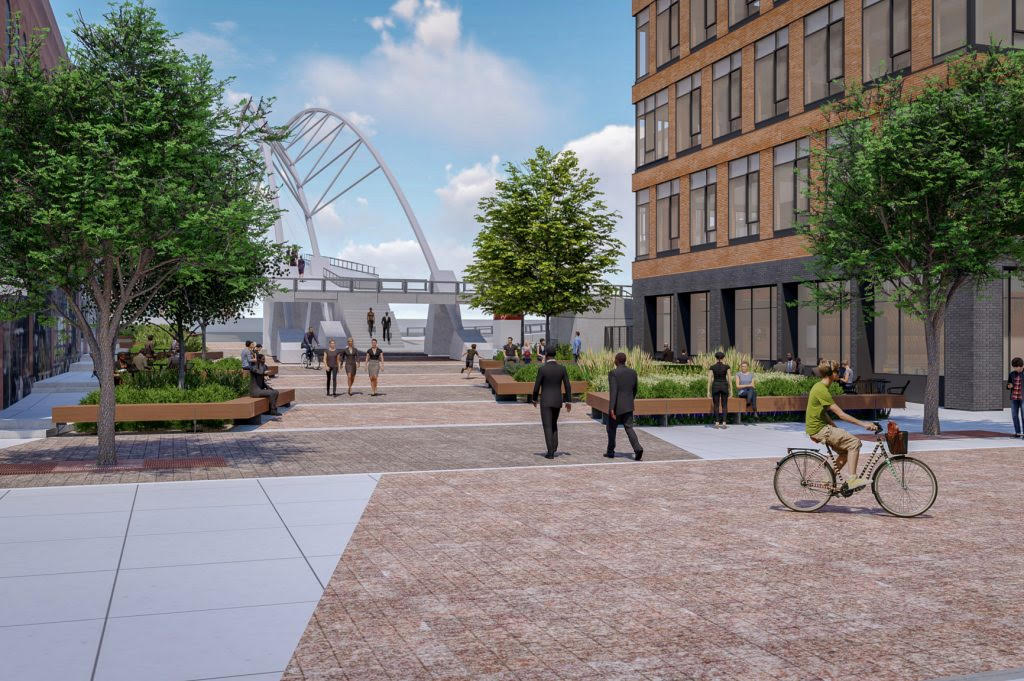 A rendering of a more lively Platte Street Plaza. Wi-Fi not pictured. (Unico Properties)