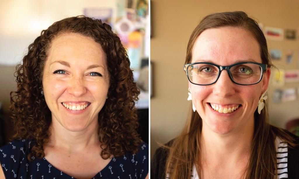 Aubrey Hill and Sarah McAffee of the Center for Health Progress. Aug. 15, 2019. (Kevin J. Beaty/Denverite)