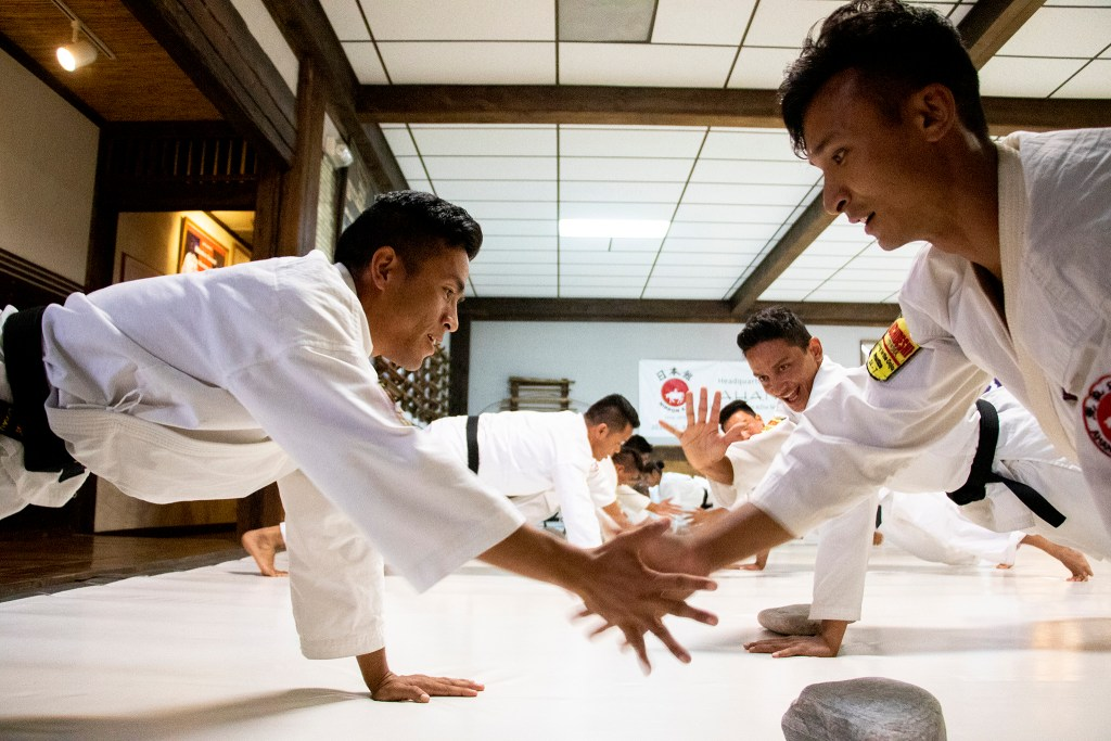 Nepali Soldiers exercise at Aikido Nippon Kan, Aug. 15, 2019. (Kevin J. Beaty/Denverite)