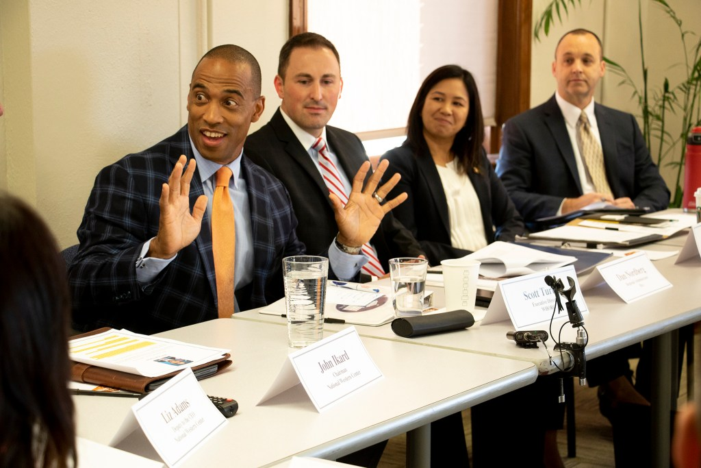 Scott Turner, executive director of the White House Opportunity and Revitalization Council, leads a meeting hosted by the National Western Authority, Sept. 12, 2019. (Kevin J. Beaty/Denverite)