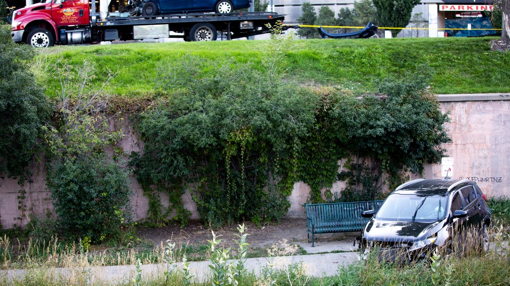A car that landed on the Cherry Creek Trail, Sept. 25, 2019. (Kevin J. Beaty/Denverite)