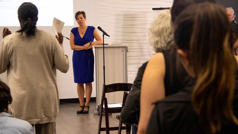 At-large City Councilwoman Robin Kniech listens to testimony during a meeting on a proposal for higher minimum wage in Denver at the Carla Madison Rec Center, Oct. 16, 2019. (Kevin J. Beaty/Denverite)