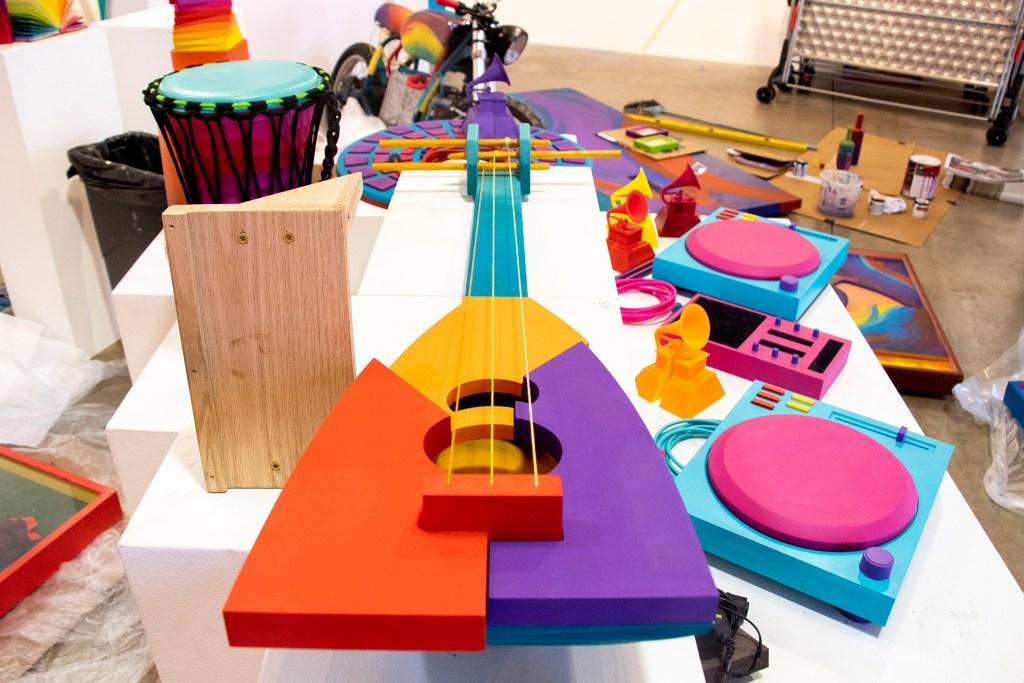 "Instruments that are part of Thomas ""Detour"" Evans' ""5 Pointers Museum"" exhibit at the Redline Contemporary Art Center, Oct. 31, 2019. (Kevin J. Beaty/Denverite)"