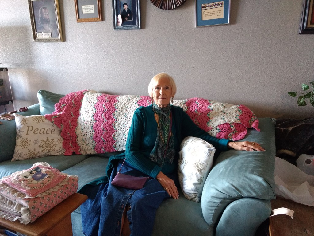 Darla Patrick in her Lowry apartment on Oct. 8, 2019. (Donna Bryson/Denverite)