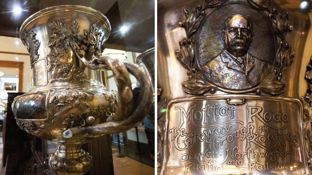 """The Loving Cup of Inspiration,"" known simply as the ""Moffat Cup,"" on display at Union Station. Sept. 25, 2019. (Kevin J. Beaty/Denverite)"