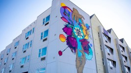 A mural by Jolt on a new housing project at Laradon in Globeville. Nov. 8, 2019. (Kevin J. Beaty/Denverite)