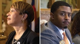 Sen. Angela Williams (left) and Rep. James Coleman. (Kevin J. Beaty/Denverite)