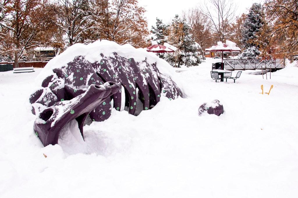 A concrete dragon by John Sutton at McWilliams Park in University Park, Nov. 26, 2019. (Kevin J. Beaty/Denverite)