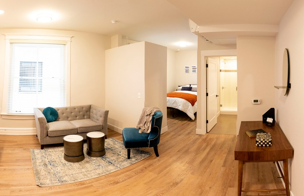 A studio apartment inside the Quayle apartments on Broadway, Nov. 21, 2019. (Kevin J. Beaty/Denverite)