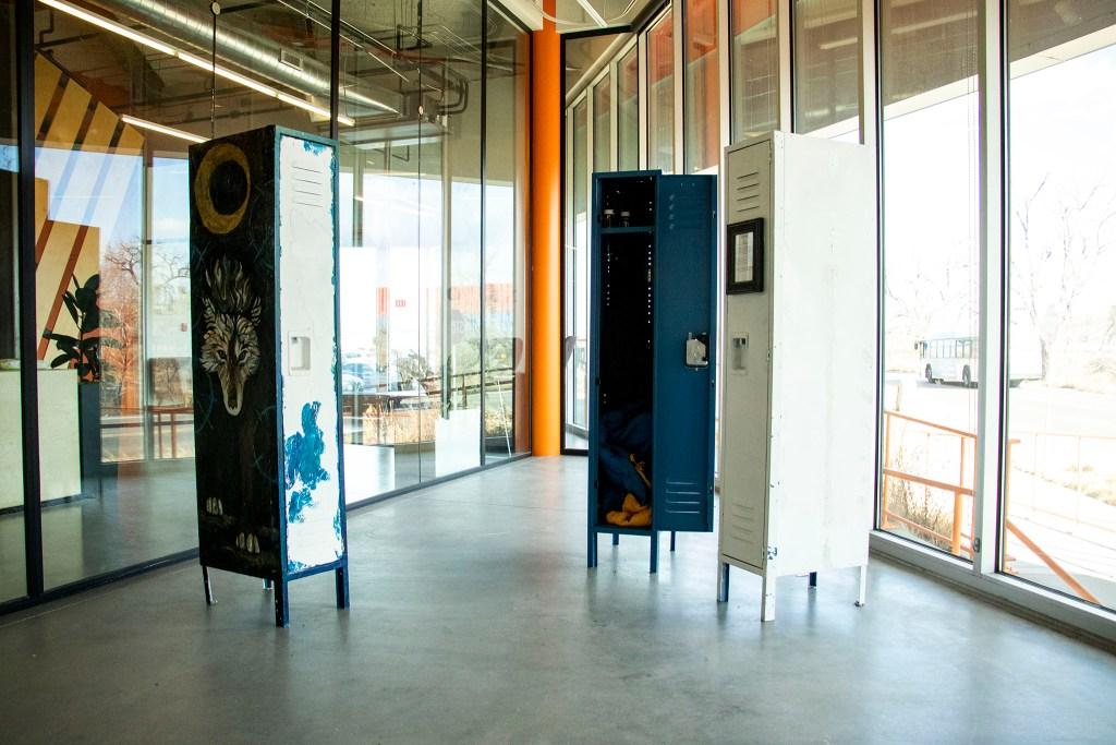 Lockers installed at the Taxi campus as part of Luna Raine's art show. Globeville. Dec. 13, 2019. (Kevin J. Beaty/Denverite)
