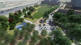 A rendering showing Vanderbilt East Park looking northwest. (Image courtesy of Matrix Design Group)