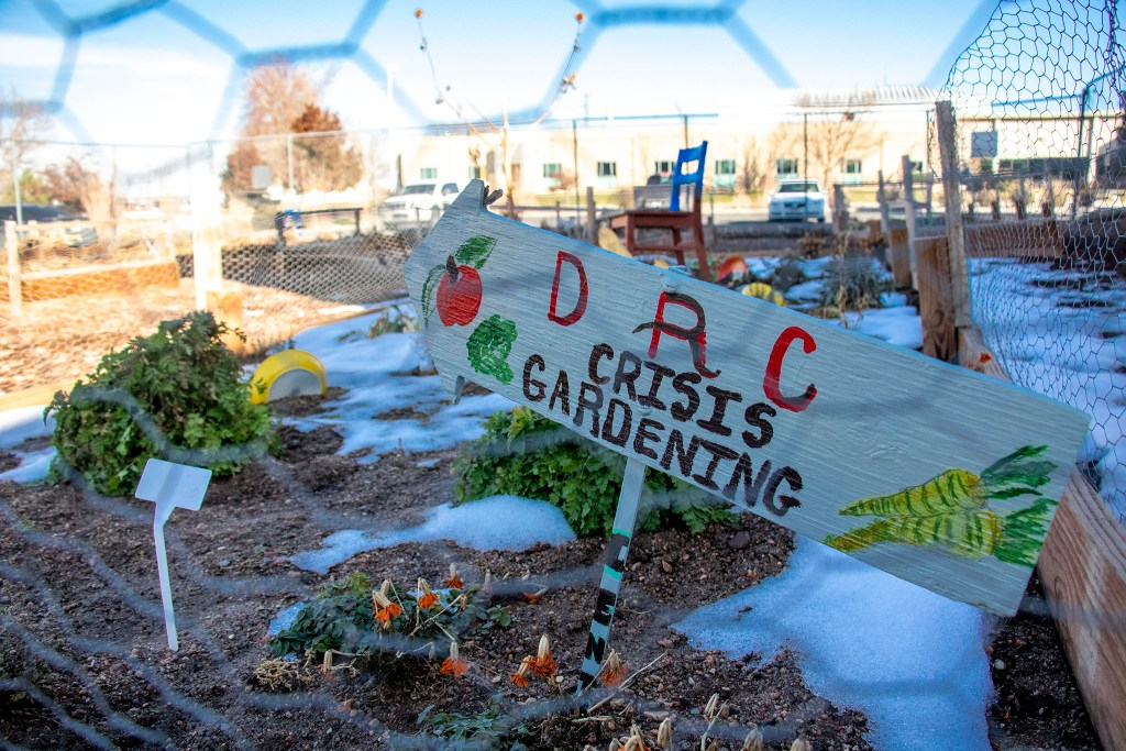 "The ""crisis garden"" behind the Aurora Day Resouce Center, Nov. 11, 2019. (Kevin J. Beaty/Denverite)"