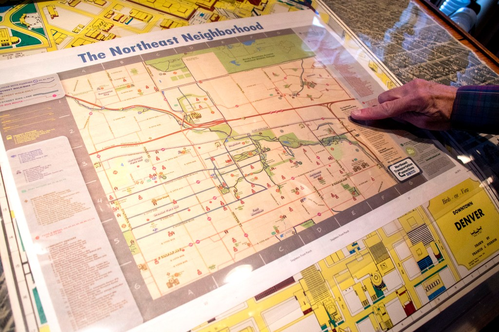 """The Northeast Neighborhood"" map from 2015 in Wesley Brown's collection. Dec. 16, 2019. (Kevin J. Beaty/Denverite)"