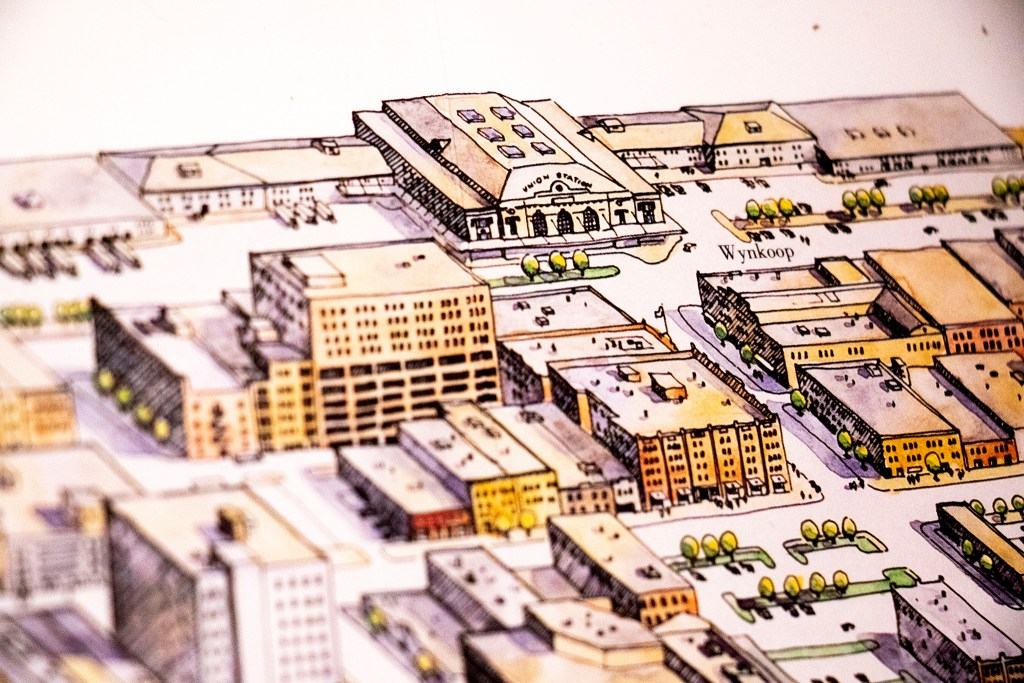 Union Station featured in a development map of Lower Downtown in Wesley Brown's collection. Dec. 16, 2019. (Kevin J. Beaty/Denverite)