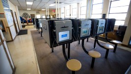 Video visitation phones inside the Denver County Jail, Jan. 9, 2020. (Kevin J. Beaty/Denverite)