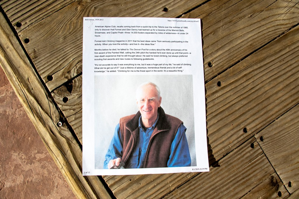 An article about Bill Forrest that George Dennis printed out. Jan. 15, 2019. (Kevin J. Beaty/Denverite)