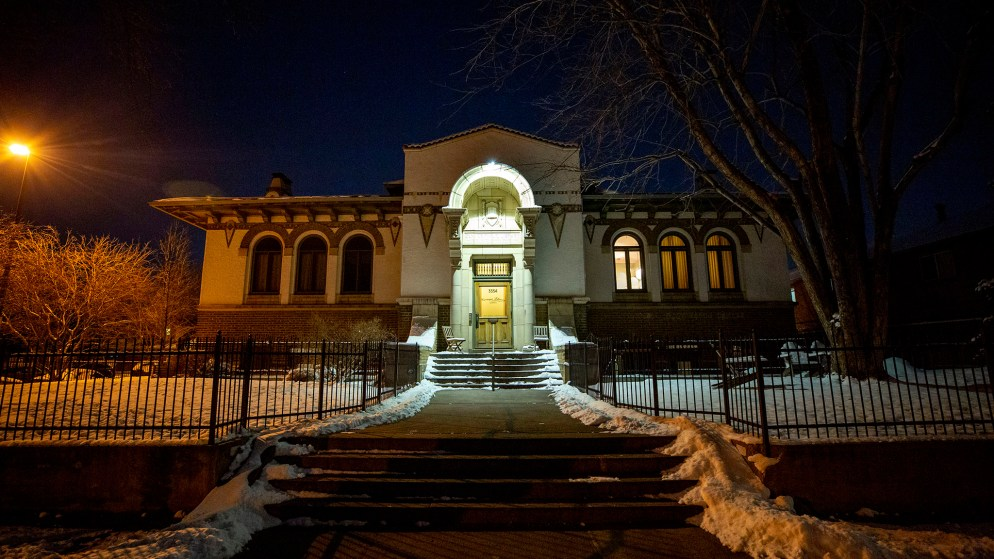 An old Carnegie library in Denver's Cole neighborhood that now houses four homes. Feb. 5, 2020. (Kevin J. Beaty/Denverite)