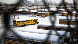 Denver Public Schools buses on a snowy day, Feb. 4, 2020. (Kevin J. Beaty/Denverite)