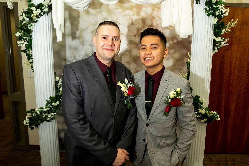 James (left) and Kent McKee were married on Valentine's Day at the office of Denver's Clerk and Recorder, Feb. 14, 2020. (Kevin J. Beaty/Denverite)