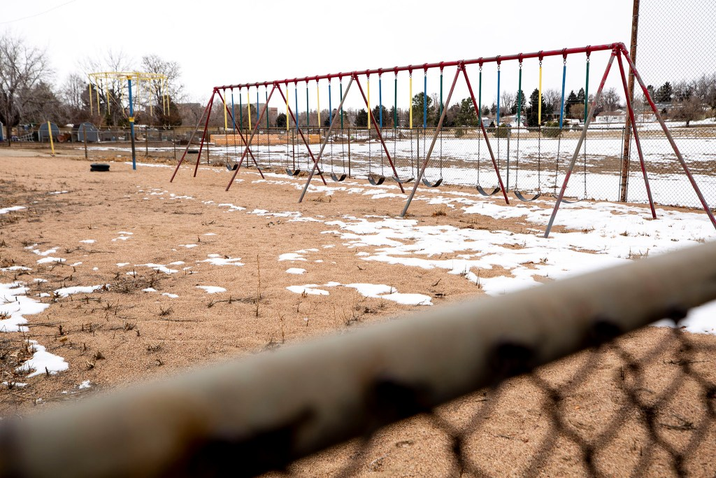 The dormant Rosedale School in Denver's Rosedale neighborhood. Feb. 25, 2020. (Kevin J. Beaty/Denverite)
