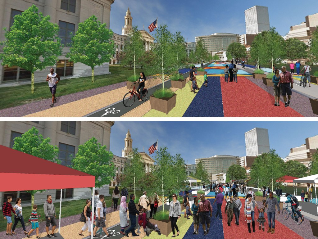Bannock Street, Phase 2 day-to-day (top) and special event concepts. (Courtesy: Denver Department of Transportation and Infrastructure)