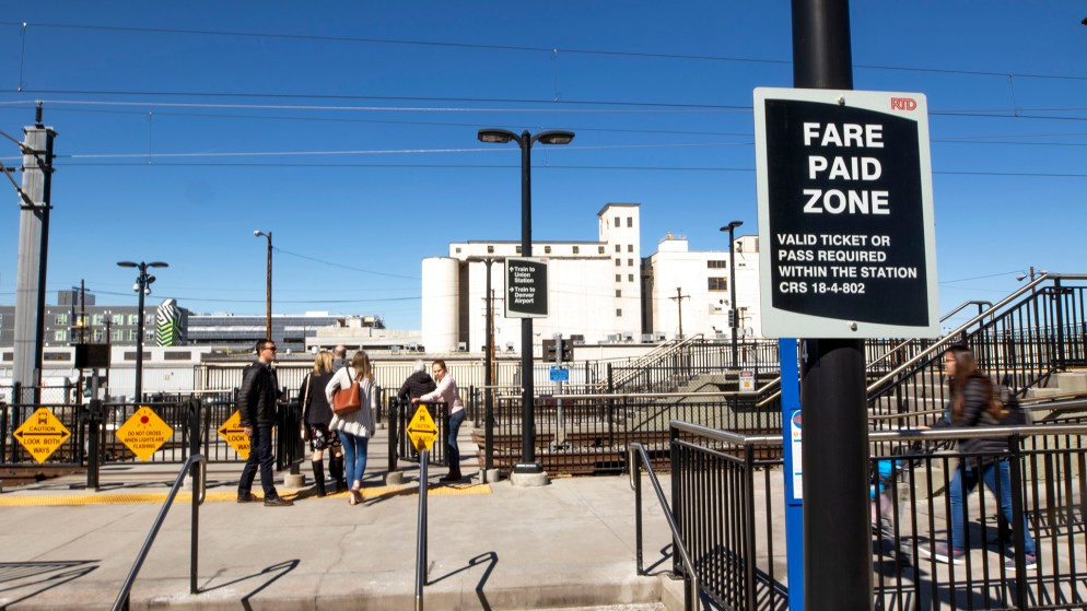 RTD's 38th and Blake Street Station, March 5, 2020. (Kevin J. Beaty/Denverite)