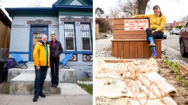David Millis and Robbie Hobein outside their Curtis Park home (left) and Maggie Thompson with the mutual aid box in front of her Clayton home. March 17, 2020. (Kevin J. Beaty/Denverite)
