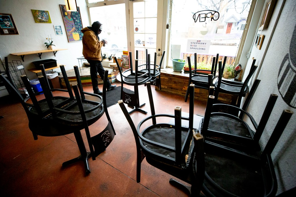 Whittier Cafe is closed to diners but open for to-go orders. March 17, 2020. (Kevin J. Beaty/Denverite)