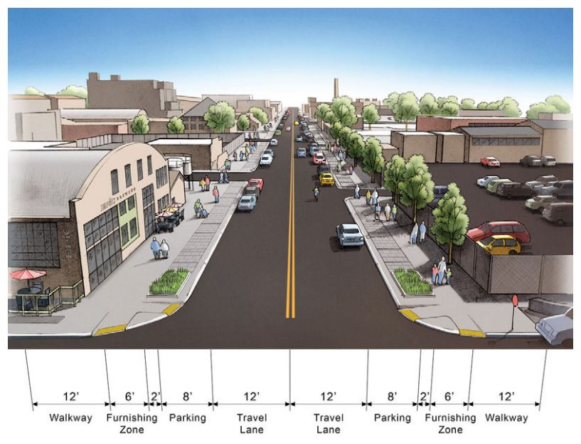 A rendering of what a two-way Walnut Street could look like. (Courtesy of the Denver's Department of Transportation and Infrastructure)
