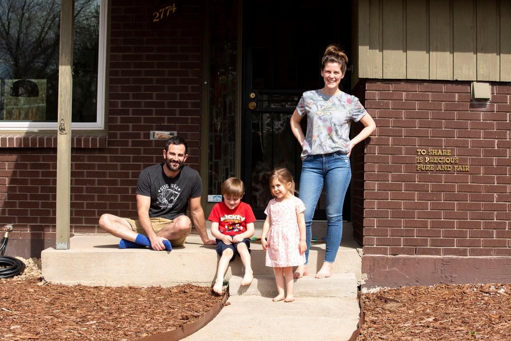 Kaitlyn Tucek poses for a portrait with her family, Matt, Nico and Rowan. April 1, 2020. (Kevin J. Beaty/Denverite)