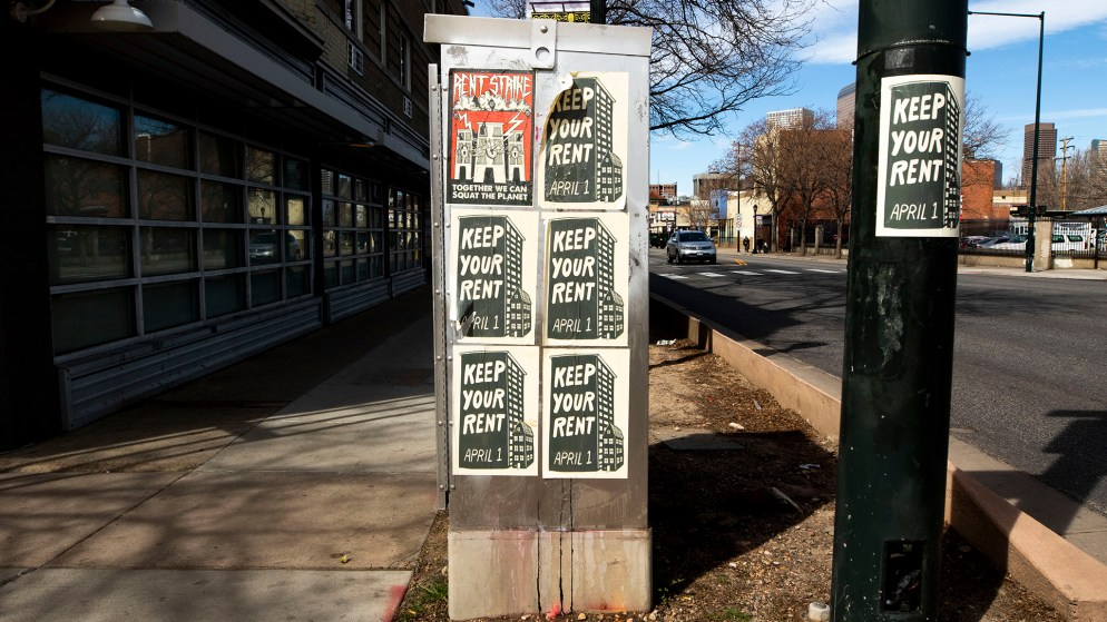 Signs calling for a rent strike, seen in Capitol Hill. April 1, 2020. (Kevin J. Beaty/Denverite)