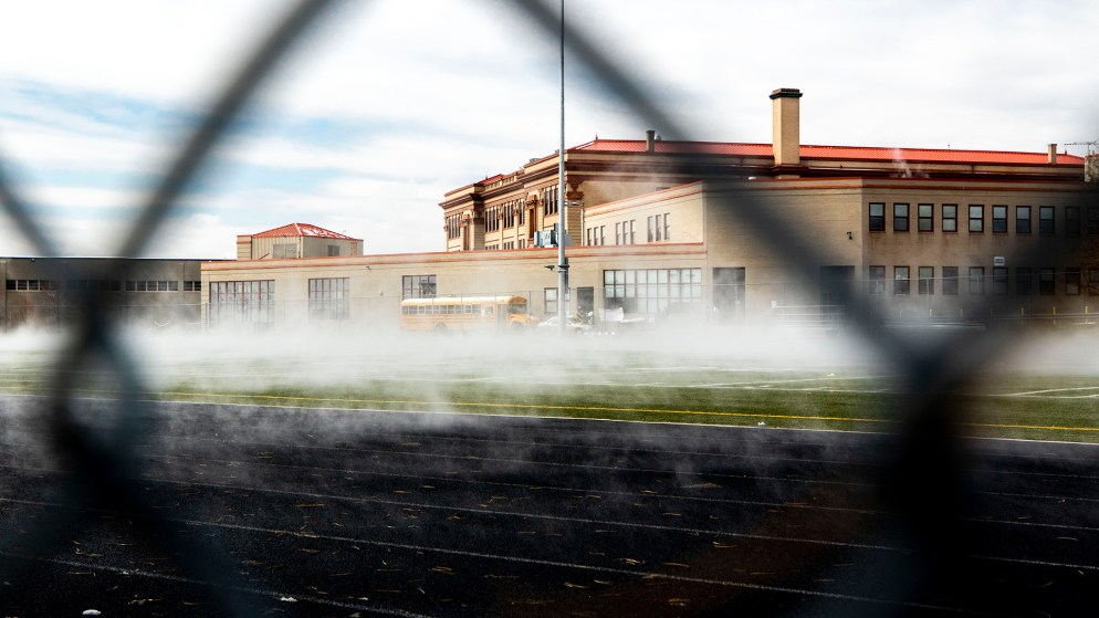 Otherworldly steam rises from the football field at North High School. April 3, 2020. (Kevin J. Beaty/Denverite)
