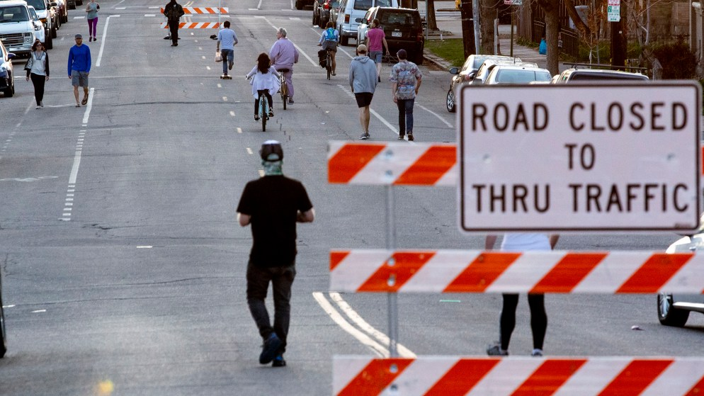 11th Avenue is open to people in Denver's Cheesman Park neighborhood. April 7, 2020. (Kevin J. Beaty/Denverite)
