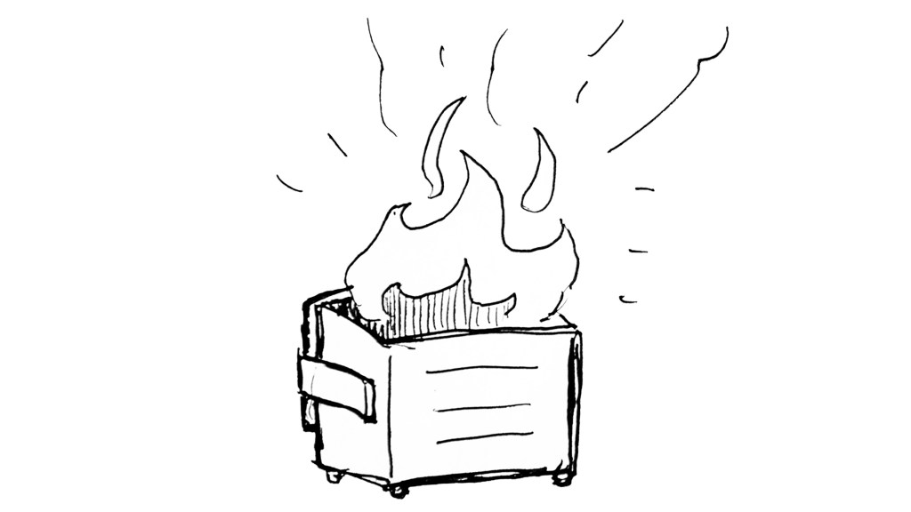 Here's a picture I drew of a dumpster fire. (Kevin J. Beaty/Denverite)