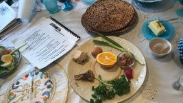 A Passover Seder scene.
