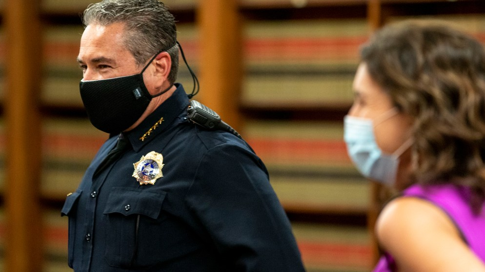 Denver Police Chief Paul Pazen wears a mask in the City and County Building's Parr-Widener Room before a COVID-19 update. May 5, 2020. (Kevin J. Beaty/Denverite)