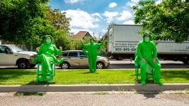 Erin Rollman (left to right), Erik Edborg and Brian Colonna are part of Buntport Theater's The Grasshoppers, a play you can watch from your car. May 28, 2020. (Kevin J. Beaty/Denverite)