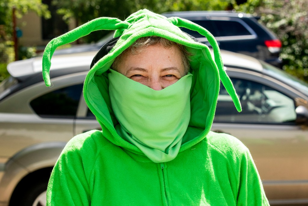 Erin Rollman is one of four performers in Buntport Theater's The Grasshoppers, a play you can watch from your car. May 28, 2020. (Kevin J. Beaty/Denverite)