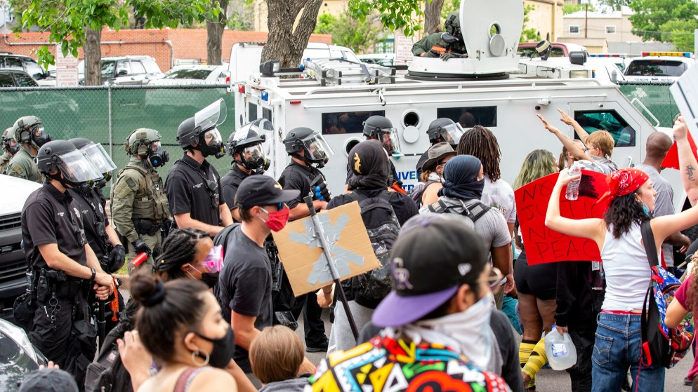 Protesters surround Denver Police District Six headquarters on day three of actions reacting to the killing of George Floyd. May 30, 2020. (Kevin J. Beaty/Denverite)