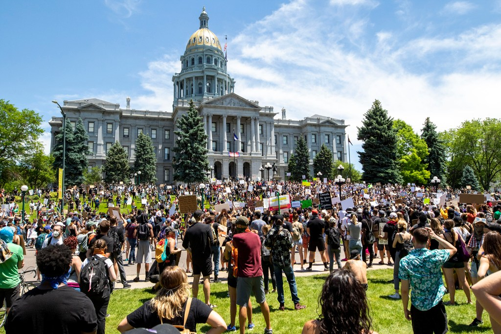 A huge crowd gathered on the Capitol lawn for the third day of protests in reaction to the killing of George Floyd. May 30, 2020. (Kevin J. Beaty/Denverite)