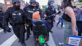 Protesters and police clash in downtown Denver during a demonstration against the death of George Floyd on Thursday, May 28, 2020. (Hart Van Denburg/CPR News)